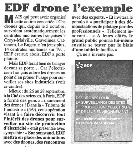 EDF-drone-l-exemple. Le-Canard-enchaine-5-11-2014